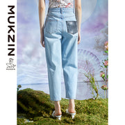 Mukzin Designer Brand Old Fashion High-Waisted Jeans- DRAGON SCALE PAVILION