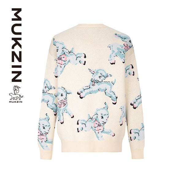 Mukzin Designer Brand Sweater with Lamb Pattern  -ADVENTURE IN SPACE
