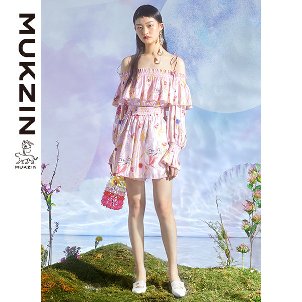 Mukzin Designer Pink Strapless Dress- DRAGON SCALE PAVILION