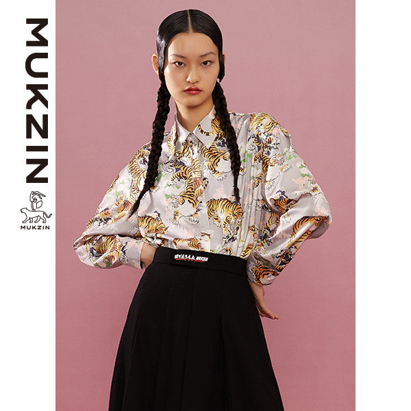 Mukzin Designer Brand Chic Tigter Print Shirt-ADVENTURE IN SPACE