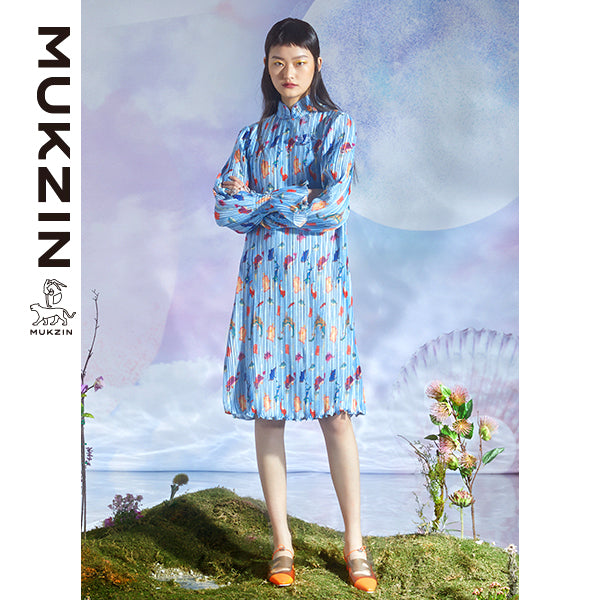 Mukzin Designer Brand Blue Dress-DRAGON SCALE PAVILION