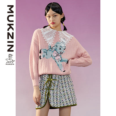 Mukzin Designer Brand Pink Sweater with Lace Collar -ADVENTURE IN SPACE
