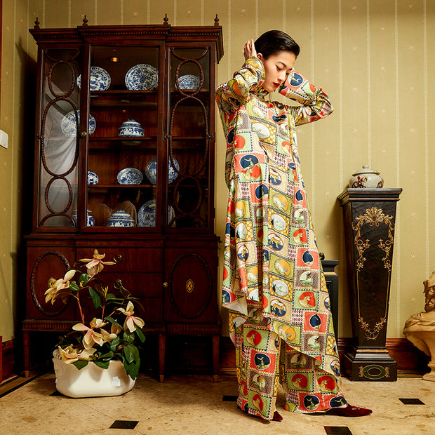 Mukzin Designer Brand Chinese Style Animal Pattern Women Long Dress - Daan