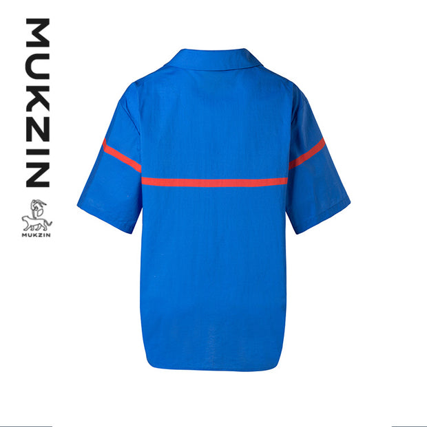 Mukzin Designer Brand Retro Blue Short-sleeved Shirt- DAAN