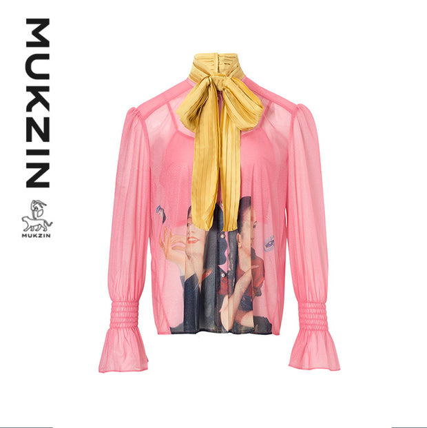 Mukzin Designer Brand Ink Print Two-Piece Shirt With Tie- DAAN