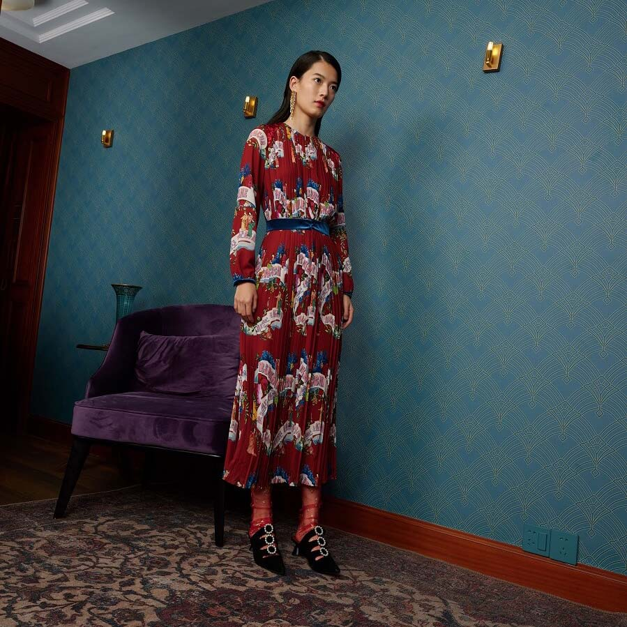 Mukzin Contrast Printing Pattern Longs Sleeve Zip Women Dress - The Theater of Mao'er
