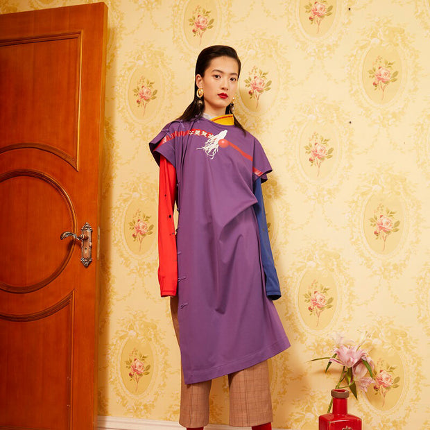 Mukzin Designer Brand Chinese Style Split Women Purple Extra Long T-shirt - Daan
