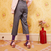 Mukzin Designer Brand Pattern Waist Women Straight Gray Casual Pants - Daan