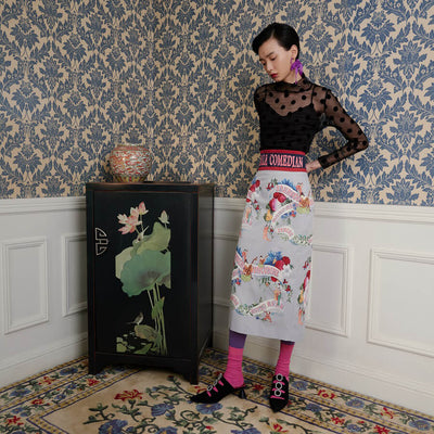 Mukzin Designer Brand Chinese Painting Style Women Half Dress - The Theater of Mao'er