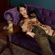 Mukzin Tiger Printed Velvet Women Shirt - Jade In The Shadow