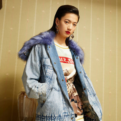 Mukzin Designer Brand Vintage Women Denim Jacket With Replaceable Collar - Daan