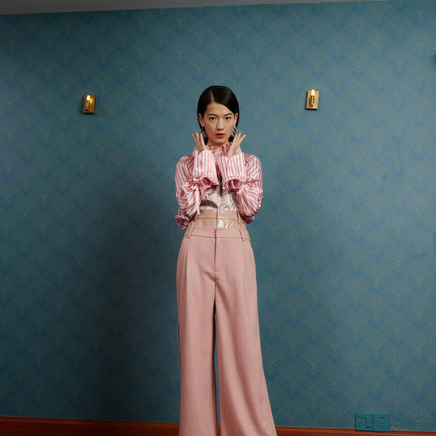 Mukzin Designer Brand Stripe Women Silk Pink Pullover  - The Theater of Mao'er