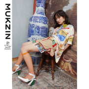 Mukzin Designer Brand Retro Dragon Print High Waist Shorts- DAAN