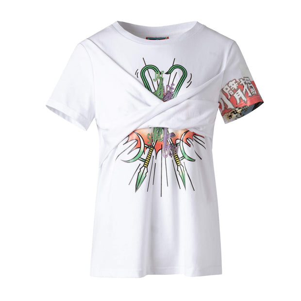 Mukzin Paris Fashion Week Printing Stereoscopic White T-shirt - Jade In The Shadow