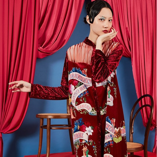 Mukzin Designer Floral Pattern Women Red Long Dress -  The Theater of Mao'er
