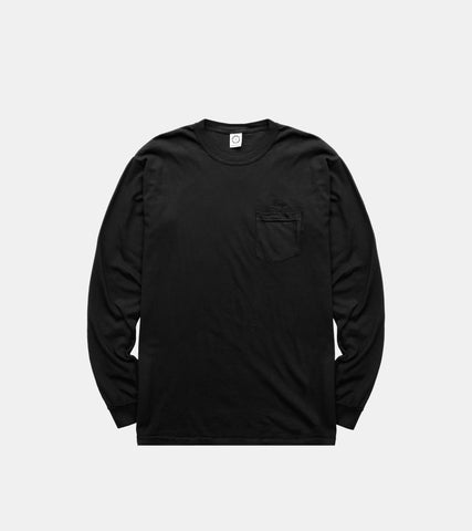 SORRYIMBUSY Black Script Long Sleeve Pocket T-Shirt