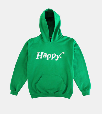 GREEN HAPPY HOODIE BY SORRYIMBUSY