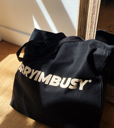 SORRYIMBUSY Oversized Logo Tote Bag - Black