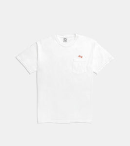 SORRYIMBUSY SCRIPT T-SHIRT WHITE - EMBROIDERED CHERRY RED