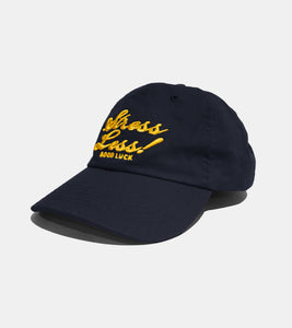 NAVY AND GOLD STRESS LESS CAP BY SORRYIMBUSY
