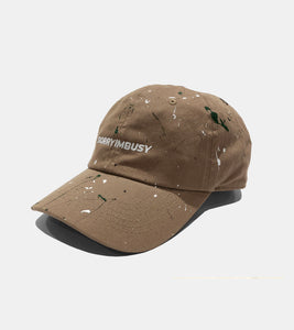 KHAKI PAINT SPLATTER ART STUDIO CAP BY SORRYIMBUSY