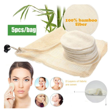 Washable Makeup Remover Pads 5 Pcs/Bag Bamboo Cotton Facial Cleansing Pad