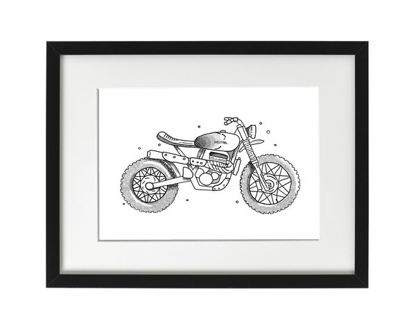 Custom Motorcycle Illustration - Framed Print