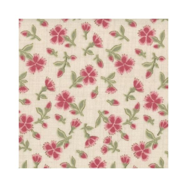 French General - Floral - Cream + Red