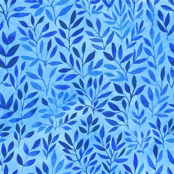 Floral Menagerie - Leaves - Blue