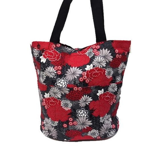 Quilting Tote - Red + Black Oriental