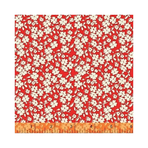 1930's Red Floral 108 inch wide