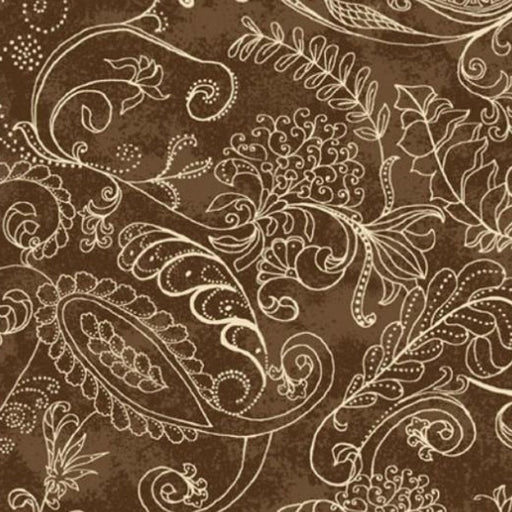 Complementary Dotty Paisley 108inch wide Brown