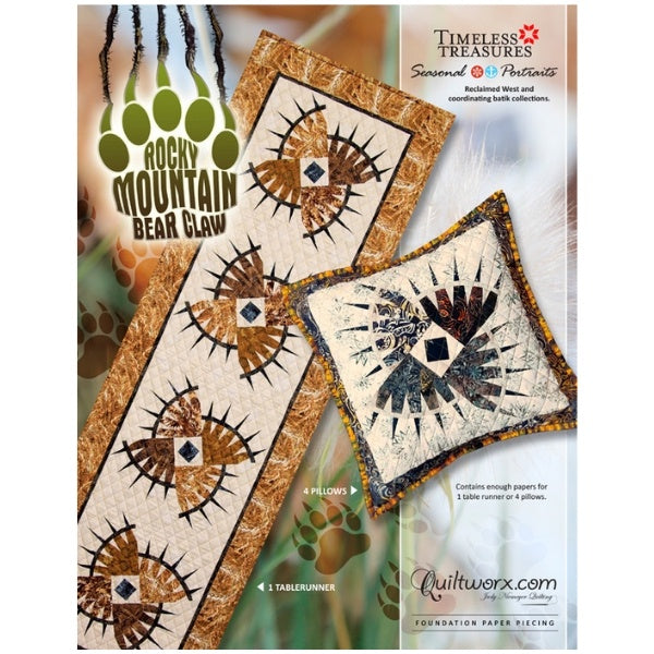 Rocky Mountain Bear Claw Table Runner + Pillows