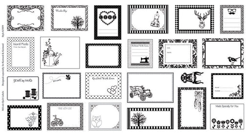 Milvale Quilt Labels Panel - Black + White