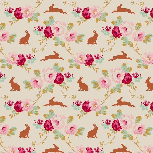 Cabbage Rose - Rabbits & Roses - Linen