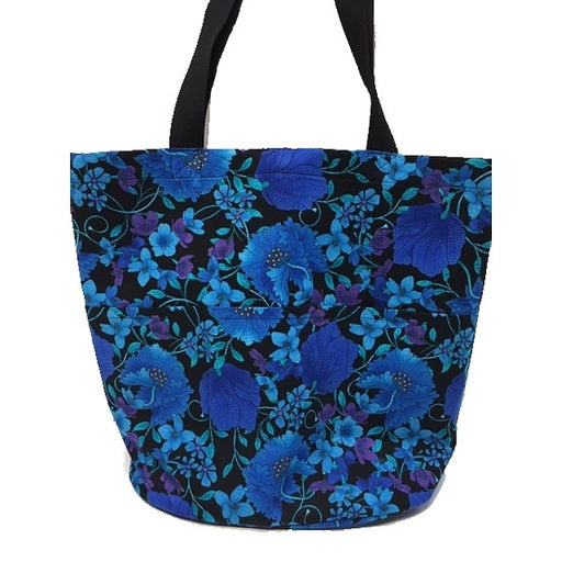 Quilting Tote - Blue + Black Floral