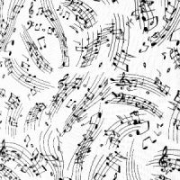 White with Black Music Notes