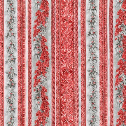 Holiday Flourish 9 - Silver & Red Stripe