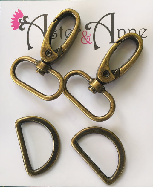 Swivel Hook & D Ring - Antique Gold - Various