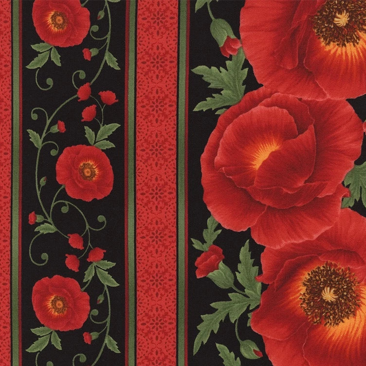 Poppy Border - Black