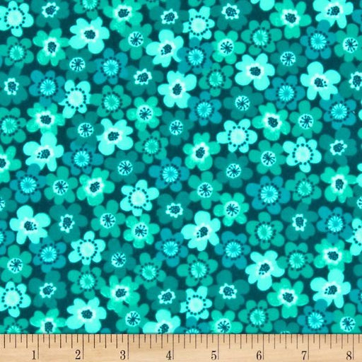 Punch Garden Flannel - Flowers - Teal