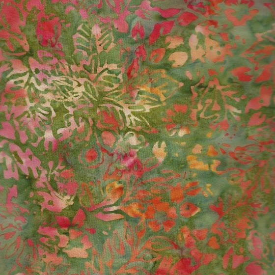Anthology Batik - Coral Gold & Green Print