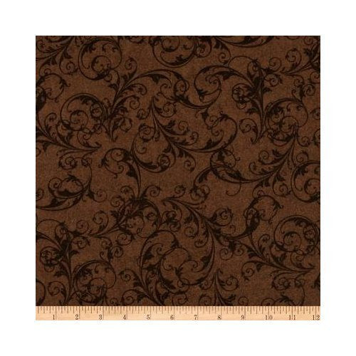 "Flourish Scrolls Brown 108"" Wide"