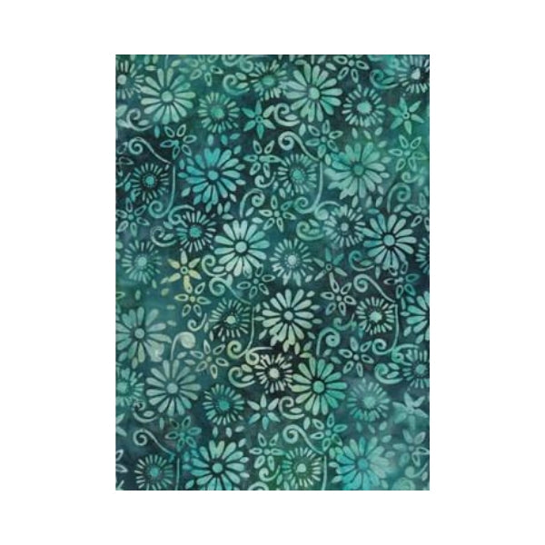 BeColourful Batik - Deep Sea Green Flowers