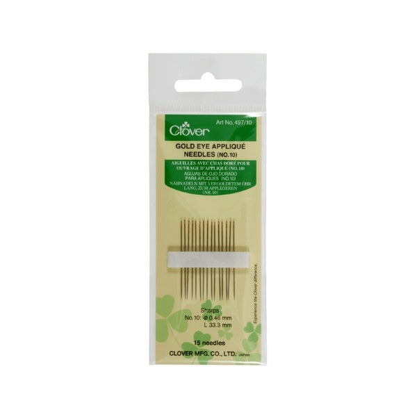 Clover Gold Eye Applique Needles (No 10)