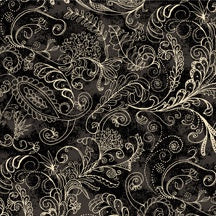Complementary Dotty Paisley 108inch wide Black