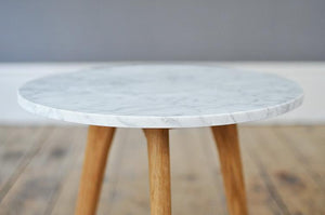 Medium Contemporary Marble and Oak Side Table