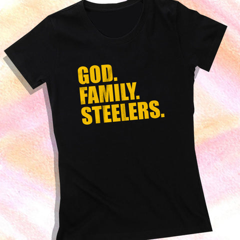 10590dec4 Pittsburgh Steelers God Family Steelers Fan Inspired Team Holiday Women S T  Shirt