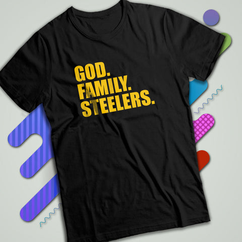 34af0d0b9 Pittsburgh Steelers God Family Steelers Fan Inspired Team Holiday Men S T  Shirt