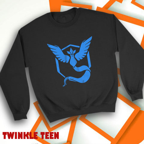 00f6de64 Pokemon Go Shirt Team Mystic Emblem Pok%82Mon Go Blue Articuno Men'S  Sweatshirt